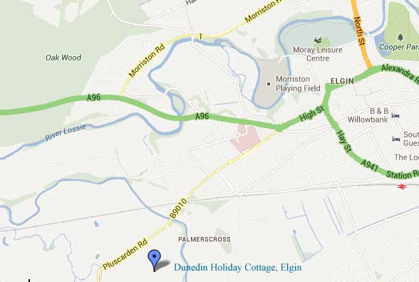 Location of Dunedin Cottage, Elgin Holiday Home, Elgin, Moray